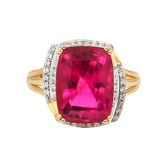 7.86 Carat Cushion Shaped Rubelite Ring in 18 Karat Yellow Gold with Diamonds