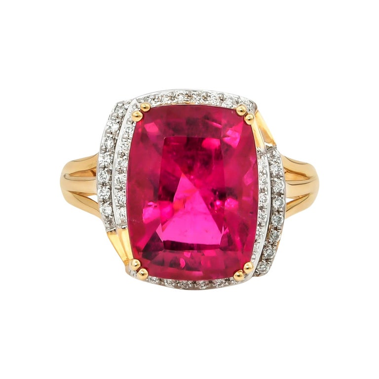 7.86 Carat Cushion Shaped Rubelite Ring in 18 Karat Yellow Gold with Diamonds For Sale