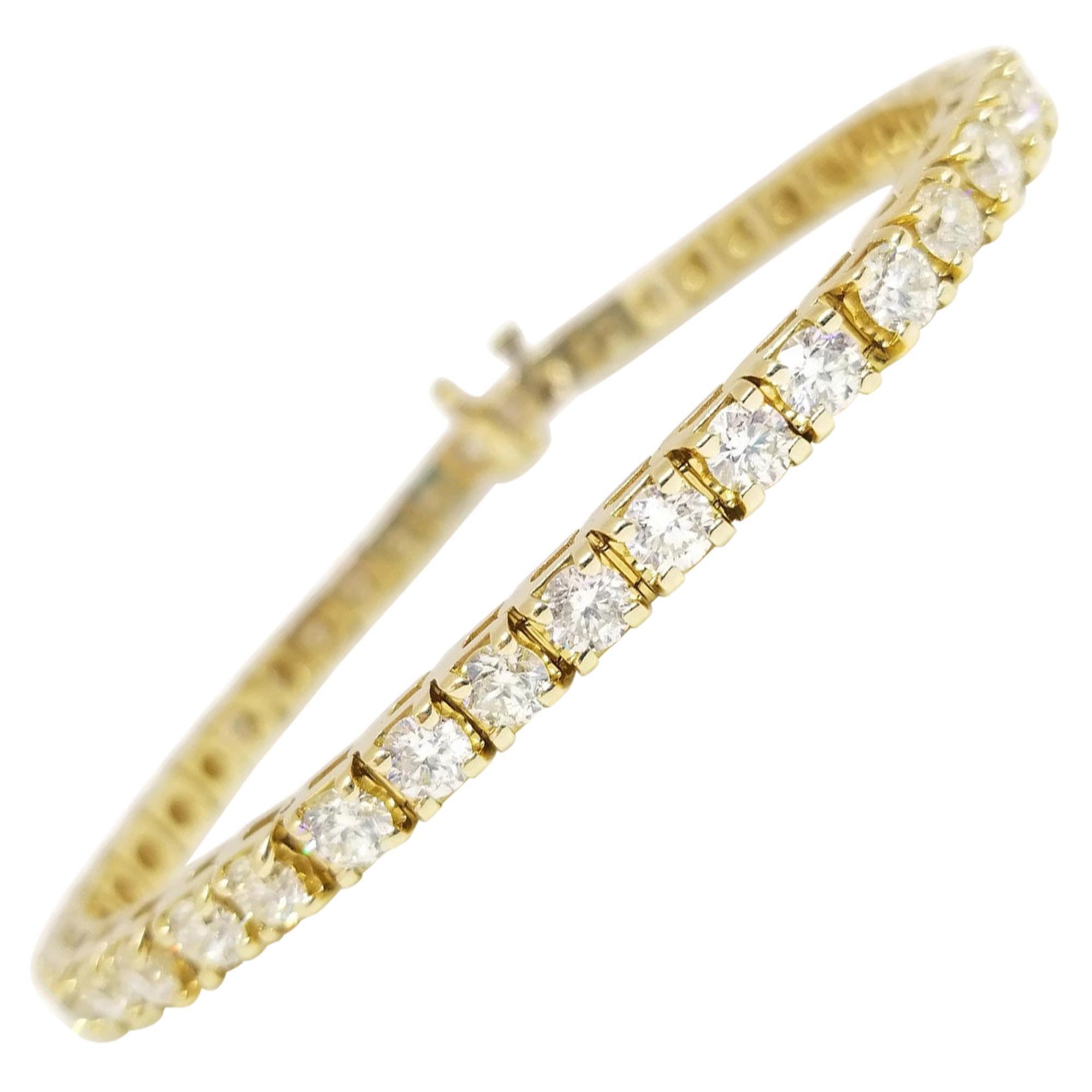 7.86 Carat Round Brilliant Cut Diamond Tennis Bracelet 14 Karat Yellow Gold