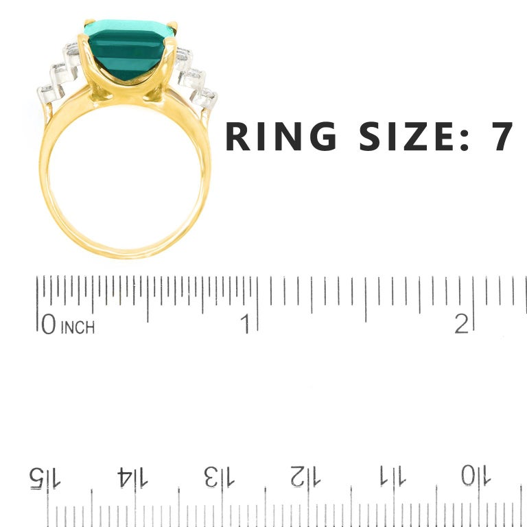 7.86 Carat Tourmaline and Diamond-Set Gold Ring For Sale 1