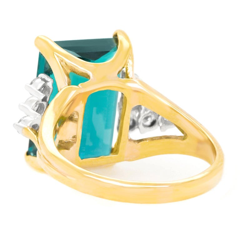7.86 Carat Tourmaline and Diamond-Set Gold Ring For Sale 3