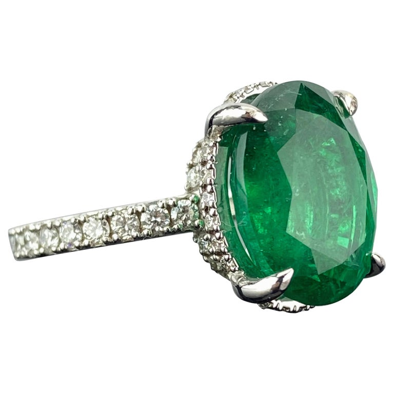7.87 Carat Oval Emerald and Diamond Engagement Ring For Sale