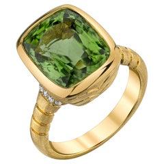 7.88 Carat Peridot Cushion and Diamond Yellow Gold Bezel Signet Band Ring