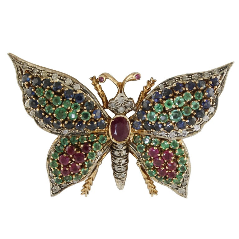 7.88 Carat Rubies Emeralds Blue Sapphires, Butterfly Pendant Necklace/Brooch