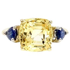 7.88 Carat Yellow Sapphire Center Three-Stone Ring