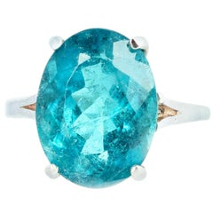 Gemjunky Rare 7.9 Cts Blue Indicolite Tourmaline Sterling Silver Cocktail Ring