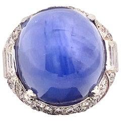79 Carat Cabochon Ceylon Unheated Star Sapphire Ring Set in Platinum