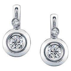 .79 Carat Total Diamond White Gold Lever Back Bezel Set Drop Earrings