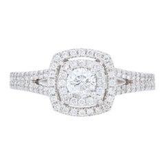 .79 Carat Round Brilliant Helzberg Diamonds Double Halo Ring 14 Karat Gold