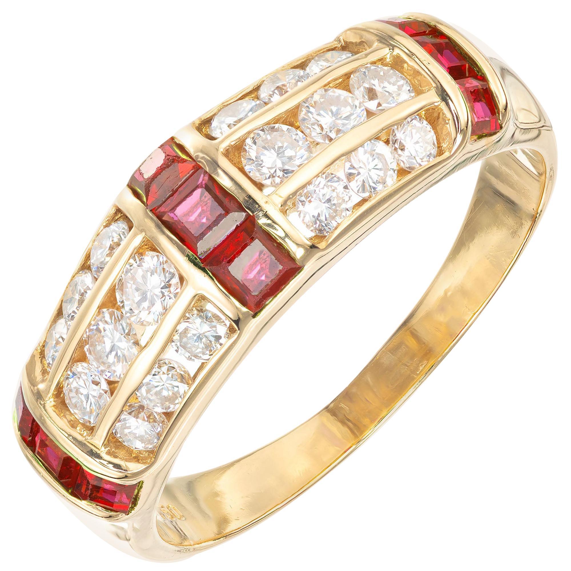 .79 Carat Ruby Diamond Yellow Gold Three-Row Band Ring