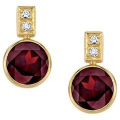 7.90 Carat Garnet and Diamond 18 Karat Yellow Gold Bezel Set Stud Earrings