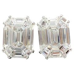 7.90 Carat Invisibly Set Diamond Earrings in 18 Karat White Gold