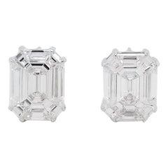 7.90 Carat Invisibly Set Diamond Studs in 18 Karat White Gold