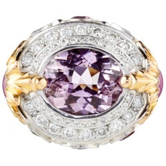7.90 Carat Kunzite Ring with 2.53 Carat Spinel and .80 Carat Diamonds