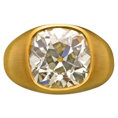 7.90 Carat Old Mine Cushion Diamond Mounted in 22k Gold 'Gypsy' Ring by Hancocks