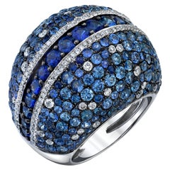 7.90 Carat Total Blue Sapphire and Diamond Pave White Gold Dome Cocktail Ring