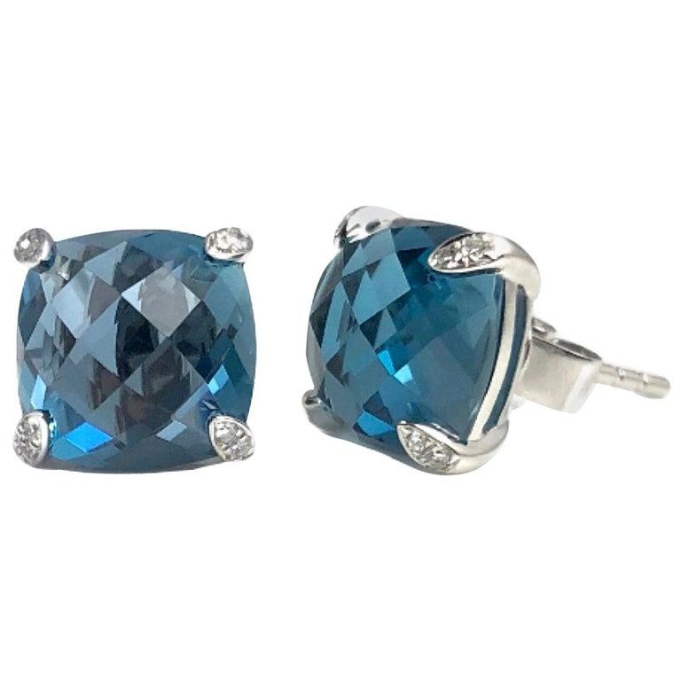 DiamondTown 7.92 Carat London Blue Topaz Earrings in 14 Karat White Gold For Sale