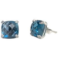 7.92 Carat London Blue Topaz Earrings in 14 Karat White Gold