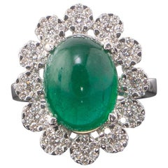7.93 Carat Emerald and Diamond Cocktail Ring