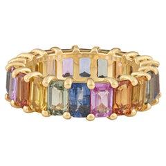 7.93ctw Multicolored Emerald Cut Sapphire Eternity Band, 18 Karat Rose Gold
