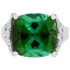 7.94 Carat Green Tourmaline and White Diamond Ring