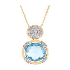 7.94 Carat Oval Briolette Cut Blue Topaz Diamond 18 Karat Yellow Gold Pendant