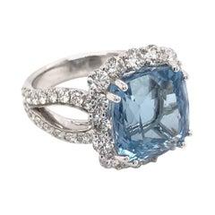 7.94 Carat Santa Maria Aquamarine and Diamond Ring