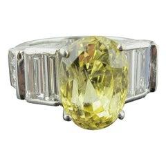 7.94 Carat Natural Yellow Sapphire with 3.00 Carat of Diamonds Set in Platinum