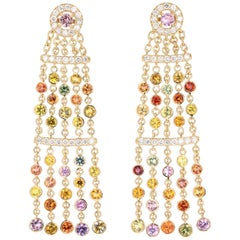 7.95 Carat Multicolored Sapphire Diamond Dangle Yellow Gold Earrings