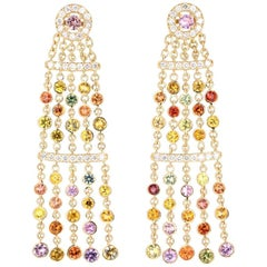 7.95 Carat Sapphire Diamond 18 Karat Yellow Gold Drop Earrings