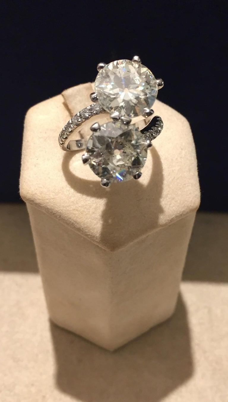Old European Cut 7.95 Carat Diamond Old Cut Toi Et Moi Ring