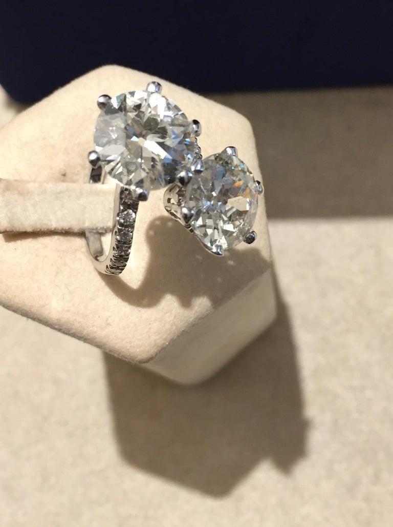 7.95 Carat Diamond Old Cut Toi Et Moi Ring 1