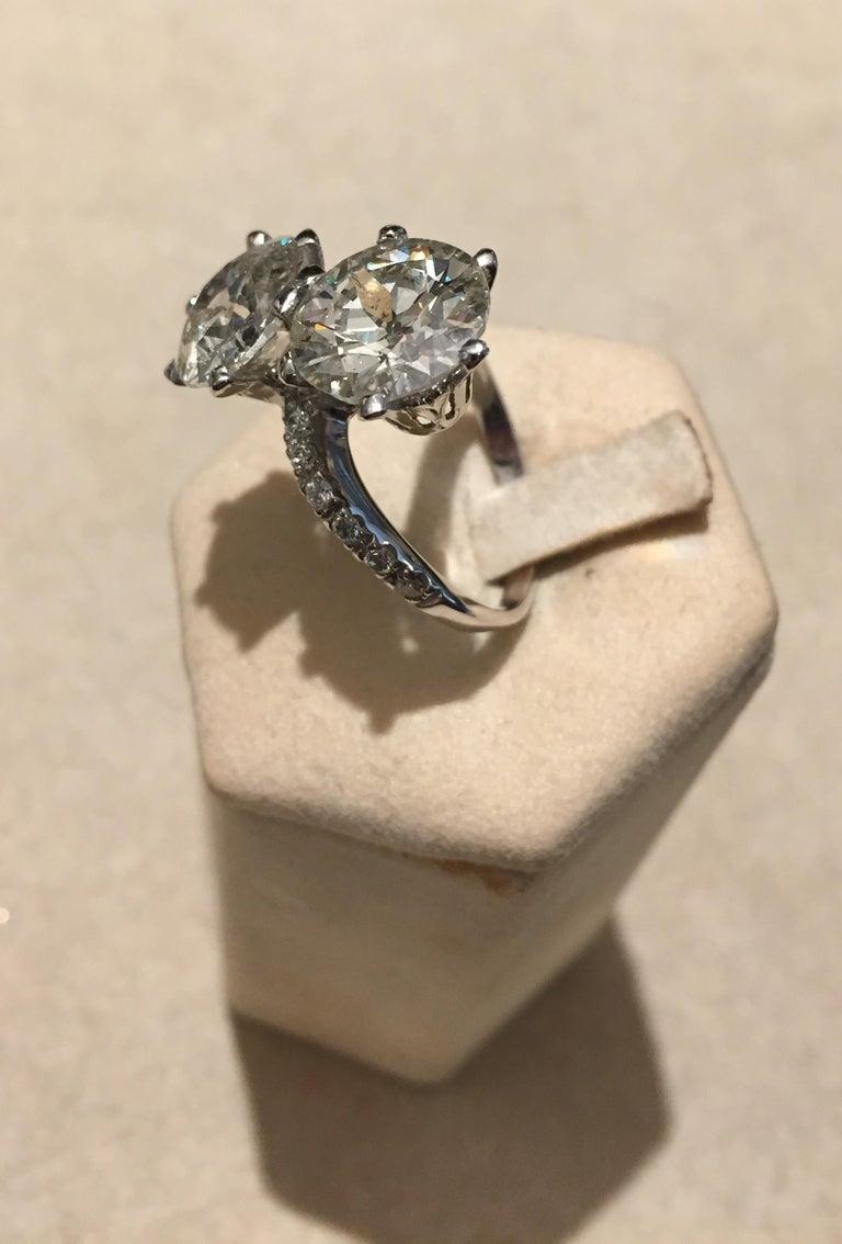7.95 Carat Diamond Old Cut Toi Et Moi Ring 2