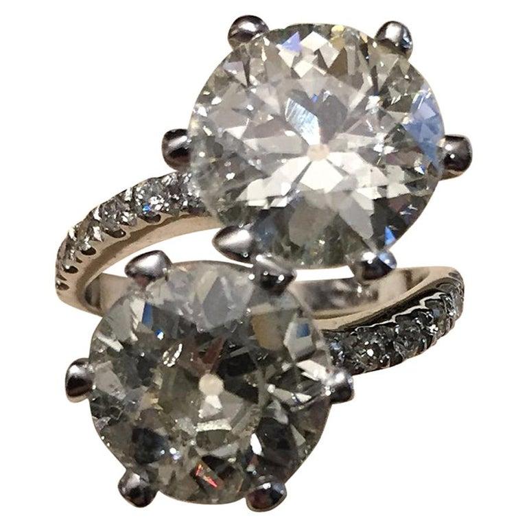 7.95 Carat Diamond Old Cut Toi Et Moi Ring