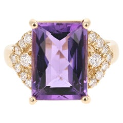 7.96 Carat Amethyst Diamond 14 Karat Yellow Gold Ring