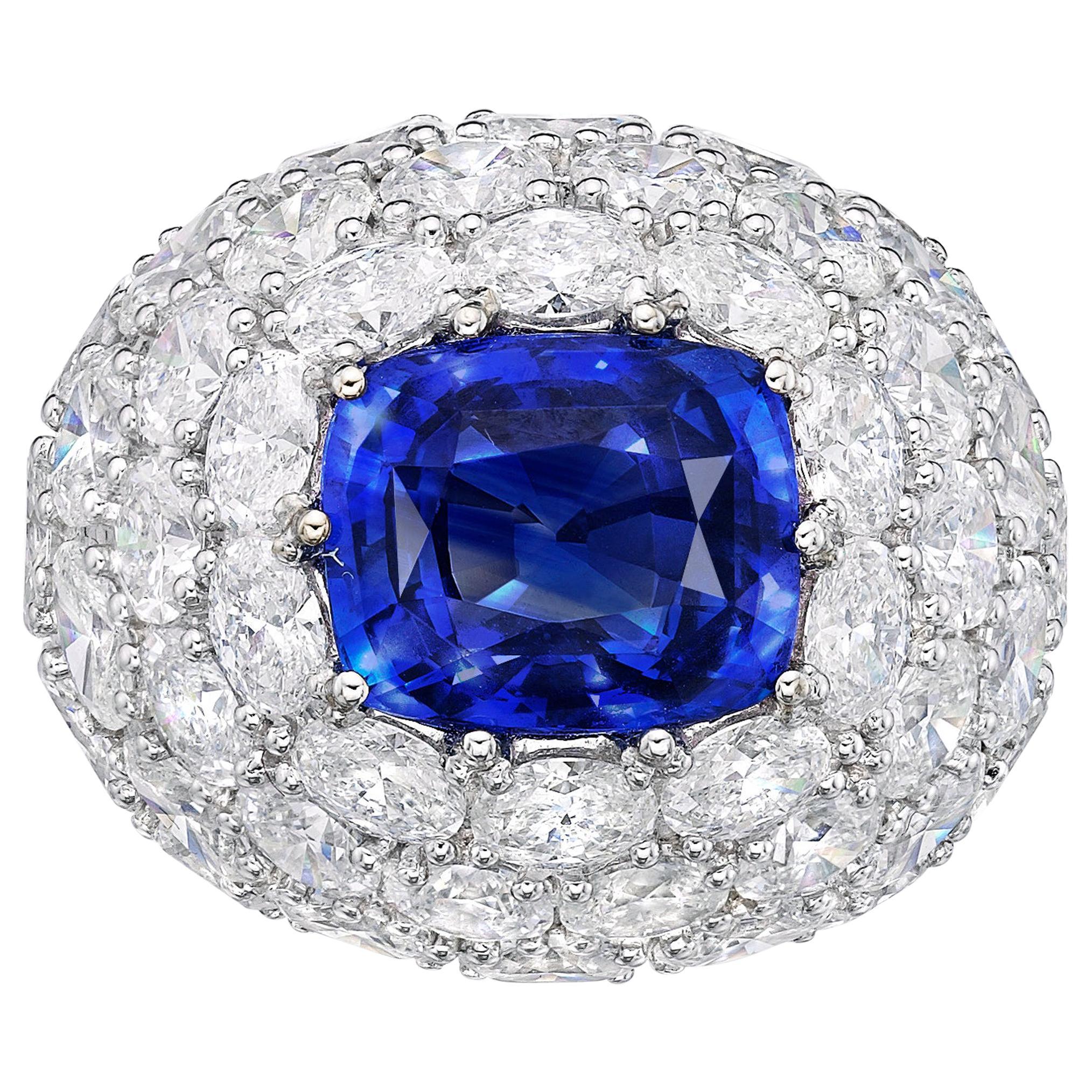 7.96 Carat Royal Blue Sapphire GRS Certified Unheated Diamond Ceylon Ring Oval