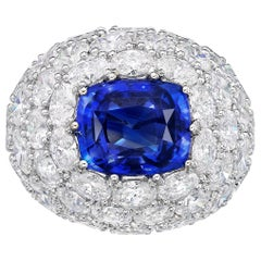 7.96 Carat GRS Certified 18K Gold Non Heated Sapphire and Natural Diamond Ring