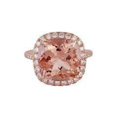 7.96 Carat Morganite Diamond Ring in 18 Karat Rose Gold