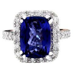 7.96 Carat Tanzanite 18 Karat Solid White Gold Diamond Ring