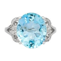 7.97 Carat Aquamarine and Diamond Ring in 18 Karat White Gold