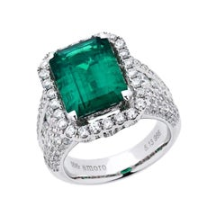 7.97 Carat Emerald Cut Colombian Emerald and Diamond Ring in 18 Karat White Gold
