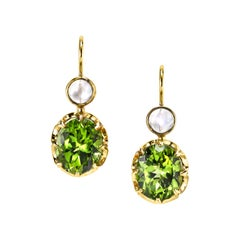 Peridot and Moonstone Cabochon 18k Yellow Gold Lever Back Drop Dangle Earrings
