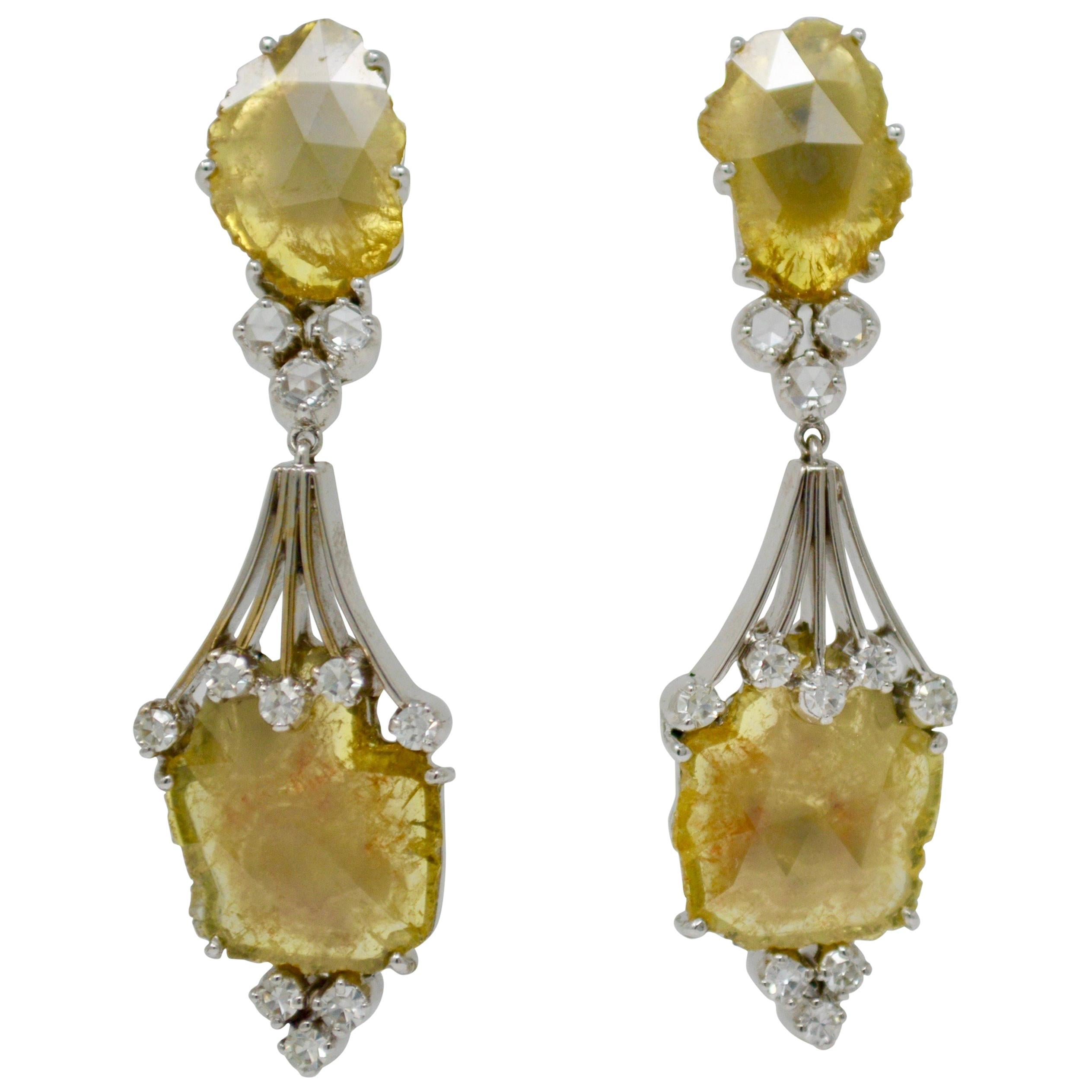 1f0517e74aa1 7.98 Carat Natural Yellow Slice Diamond Earrings