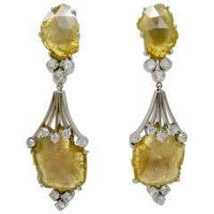 7.98 Carat Natural Yellow Slice Diamond Earrings