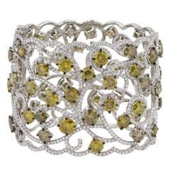 79.83 Carat Multi Diamond Open Work Floral Bangle 18 Karat in Stock