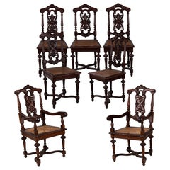 79th Century Spanish Set of Four Chairs and Two Armchairs