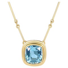 6.97 Carat Aquamarine Cushion Necklace with Gold Bar Chain
