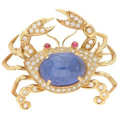 7 Carat Sapphire, Diamond and Ruby Crab Pin Brooch in Yellow Gold