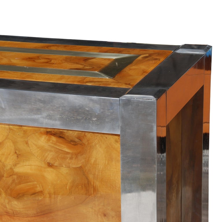 Leon Rosen for Pace Collection Burled Wood and Chrome Credenza For Sale 4