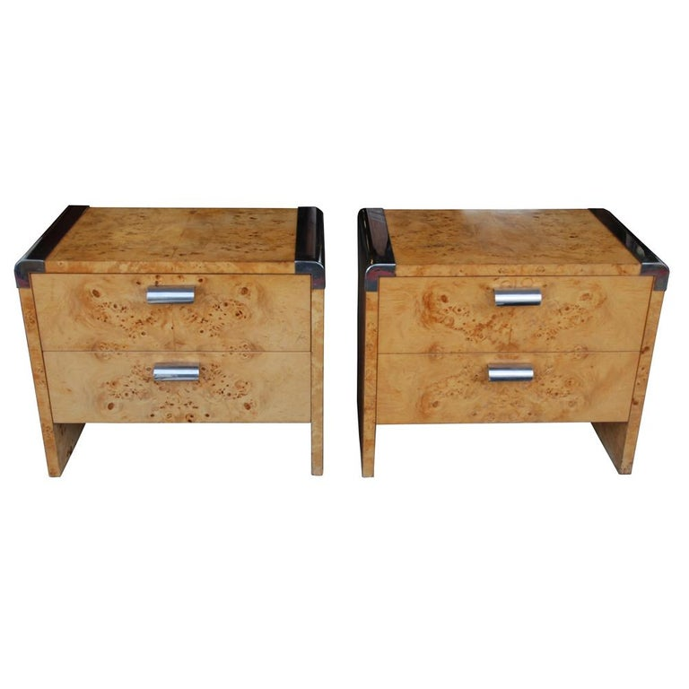 Leon Rosen for Pace Collection Burled Wood and Chrome Credenza For Sale 7